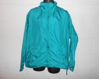 Vintage 90s Teal Eddie Bauer Ebtek  Packable Pullover Windbreaker Jacket Medium
