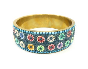 Vintage Flower Bangle, Brass, Multi Colored Flowers, Beads