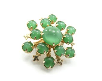 Vintage Green Cabochon Brooch, Glass, Gold Tone