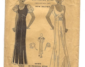 1930s Butterick 4680, Princess Style Gown with Separate Guimpe, Delineator Style, New Deltor, Size 14 Bust 32