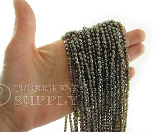 Faceted Crystal Beads 4mm Gray Brown Round Czech Crystal Bead Strands One 1 Full Strand Crystal Beads, Loose Beads, Glass Beads, Supplies