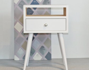 Bedside Table with drawer White table Mid Century Modern Furniture Nightstand Scandinavian Style Side table Bedroom furniture ALD-0015W