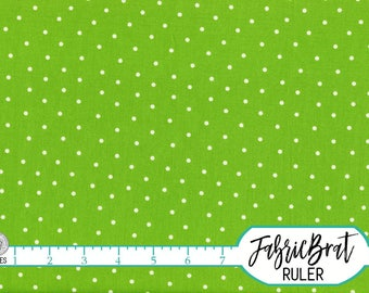 LIME GREEN DOT Fabric by the Yard Fat Quarter White Dots on Green Fabric Swiss Dot Fabric Polka Dot Quilting Fabric 100% Cotton Fabric w7-23