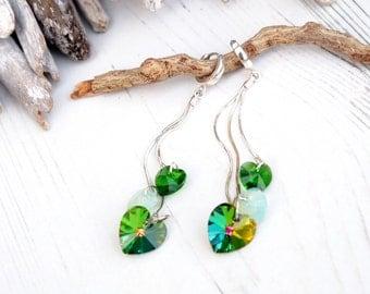 Extra Long Sterling Silver Swarovski Crystals Earrings-Swarovski Heart Earring-Multi Tone Green Vitrail Opal-Long Chain Evening Earrings