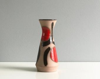 Vintage Mid Century Studio Pottery Vase / Red Stoneware Mid Modern Vase / Signed Mid Century Modern Vase / Red and Black Pottery Vase
