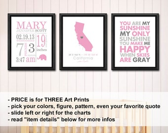baby girl nursery decor with stats, baby girl birth announcement, pink gray birth print, birth date print, new baby girl decor, baby stats