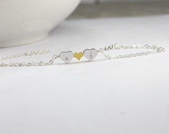 Personalized Heart Bracelet,Initials Double Heart Bracelet,Monogram heart Bracelet,Custom Hearts Bracelet,Gift 4 couple.Best Friend Bracelet