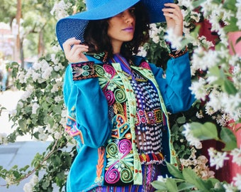 Paragon Desert Blue Bolivian Aguayo Embroidered Festival Funky Cool Jacket