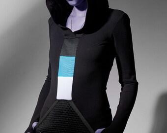 Black hooded dress with big front pocket, avant-garde long hoodie - SQ3