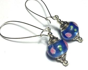 Long Blue Earrings, Glass Beads, Vintage Style Silver Tone - Kidney Hooks (ET8-9)