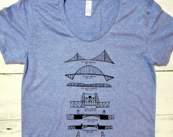 Portland Bridges womens shirt. Hand drawn. American Apparel. Portland Oregon shirt.