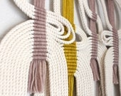 """Macrame Wall Hanging """"plm+gold+wht"""" by HIMO ART, One of a kind Handcrafted Macrame, rope art"""