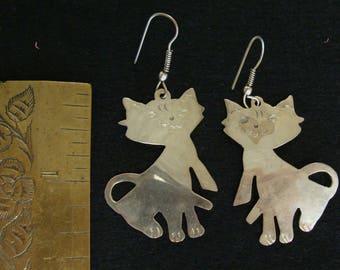 Alpaca Mexico silver cat earrings