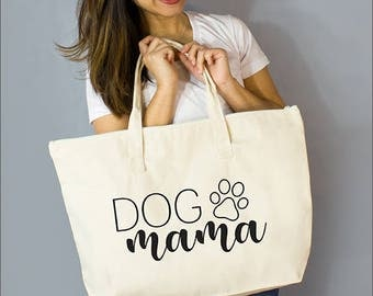 """Dog Mama: 100% Natural Cotton Canvas 22""""W x 15""""L x 5""""D with Interior Zippered Pocket  and Bottom Gusset- By Alicia Cox/ Ellafly"""