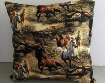 Horses pillow, 16.25 inch pillow  Horse Pillow, Polyester fiberfill Wild Horses scene pillow Handmade #horse #pillow click here for details