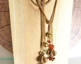 long tie Belly Queen brass and semiprecious stones