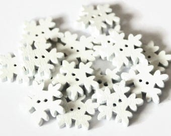 15 Wooden Snowflake Buttons - Wooden Buttons - White Buttons - Snowflake Shapes - Christmas Buttons - Xmas Buttons - Novelty Buttons - PW384