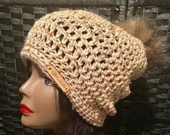 Crochet Hat with Faux Fur Fur Pom Pom