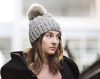 Light Grey Hand Knit Hat with Faux Fur Pom Pom