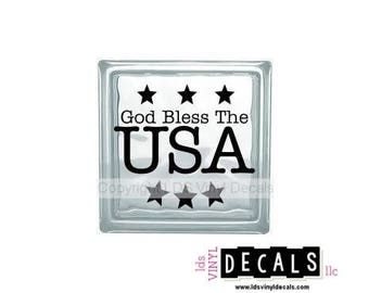 God Bless The USA - Patriotic and Military Vinyl Lettering for Glass and Wood Blocks - Craft Decals