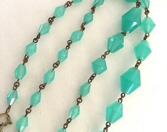 Art Deco Czech Jade Semi Translucent Glass Bead Necklace