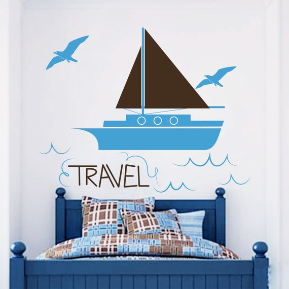 wall decals boat decal sailfish sticker travel full color. Black Bedroom Furniture Sets. Home Design Ideas