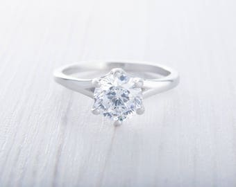 Solitaire 1.5ct genuine white Moissanite ring in Titanium or White gold - handmade engagement ring