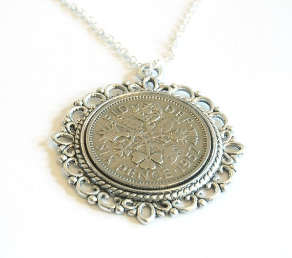 60th Anniversay Gift Lucky Sixpence Pendant 1957 Jewelry
