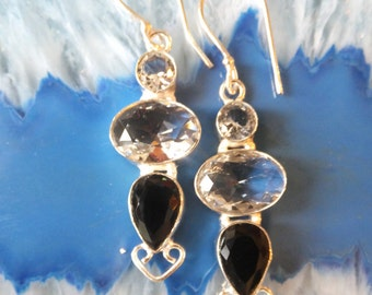White Topaz, Black Onyx and Sterling Silver Earrings