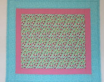 "Doll Quilt, 18"" x 20"", Light Blue, Pink, Roses, Dots, Floral Quilt, Free Pillow"