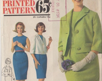 Vintage Simplicity 4801 Sleeveless Dress and Jacket Sewing Pattern, Sheath Dress, Jackie O, Bust 32, 1960's