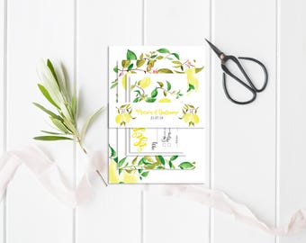 Wedding belly-band - Wedding Belly-Band for invitations - Lemons Belly-Band - Botanical Belly-Band - Rustic Wedding - Wedding invitation