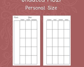 Undated Month on Two Page Personal Size Planner Inserts [DIGITAL]