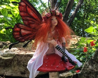 OOAK Fairy Art Doll Sculpture // Pippilotta // Mother's Day // Gifts for her // Magic Faerie wings // Polymer clay