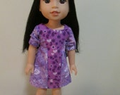 "Purple Short Sleeve Dress fits 14.5"" Dolls such As WellieWishers"