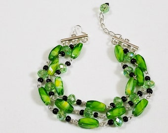 3 Strand Green Glass Bead Bracelet