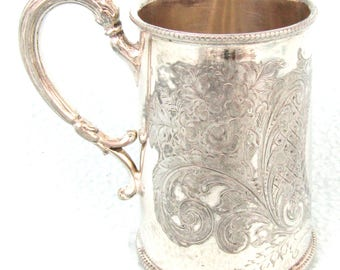 Antique Silver Plated Christening Tankard, Child's Mug, Engraved Floral Borders and Patterns, Not Engraved, Collectible Silver Plate, 1900's