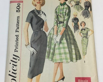 Simplicity 2646 Vintage 1950's Sewing Pattern: Easy to Make Kimono-Sleeve Dress with Flared or Straight Skirt, Size 16 (36-28-38)