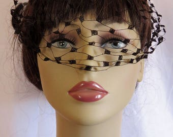 Vintage 1950's Millinery Accessory for Hats Called a 'Hat Nip' - Black Birds and Lovely Netting