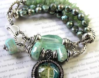 bracelet, fluorite bracelet, amazonite bracelet, green bracelet, charm bracelet, bohemian bracelet, boho chic bracelet, gift for her