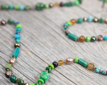 Colorful Gemstone Necklace  Long Hand Knotted Silk and Gemstone Necklace