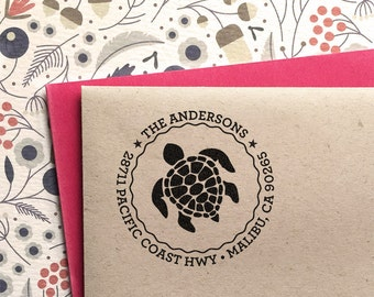 Custom Address Stamp - Sea Turtle Address Stamp, customized gift for holidays, housewarming and weddings, school, self inking stamp