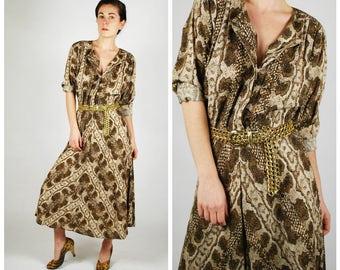 1980's Dress - 80's Snake Print Dress - Rayon Midi Shirt Waist Dress - Size M
