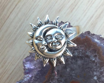Sun and Moon Ring Sterling Silver Sunshine and Crescent Moon Ring FREE Gift Box FREE Shipping Codes Below Celestial Yin Yang Gypsy Ring