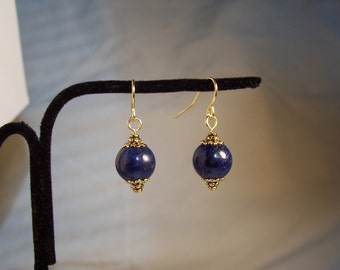 Lapis Lazuli stone Earrings, Blue Earrings, Gold Earrings, Blue and Gold Earrings, Round Earrings, Dainty Earrings, Petite Earrings