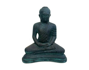 Buddha Statue - Black and turquoise with Antique finish
