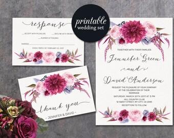 Floral Wedding Invitation, Printable Wedding Invitation Purple Wedding Invitation Suite, Spring Summer Lilac Pink Wedding Invitation Boho