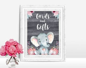 Cards and Gifts sign Baby Shower, Elephant Baby Shower table Sign Printable Cards & Gifts sign Elephant baby shower decoration digital file