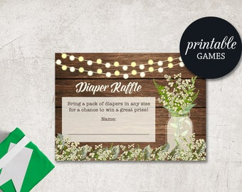 Diaper Raffle Printable, Baby Shower Diaper Raffle card, Girl Diaper Raffle Ticket, Mason Jar Rustic baby shower Diaper Raffle Insert card