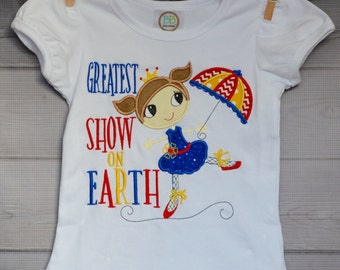 Personalized Circus Tight Rope Walker Applique Shirt or Onesie Girl or Boy